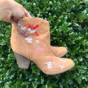 Diba Embroidered Flower Tan Booties 8.5
